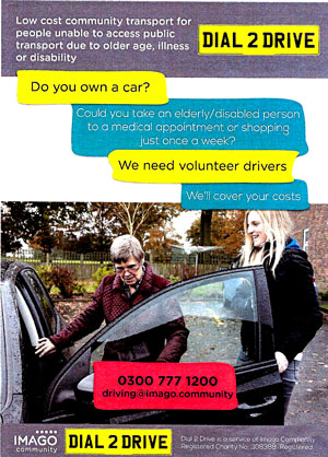 Dial 2 Drive Low Cost Community Transport For People Unable To Access Public Due Older Age Illness Or Disability